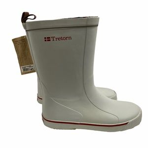 NWT Tretorn Gullwing Skerry White Red Rubber Boots